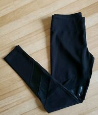 Woman Black Leggings, Size Medium, With Faux Leather and Mesh Panels