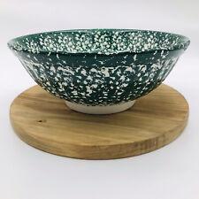 Roma Inc LG Green Pasta Bowl Ceramic Hand Painted Splatter Pattern Made In Italy