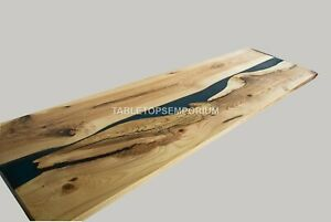 Blue Epoxy Resin And Olive Restaurant Dining Table Live Edge Wood Working Décor