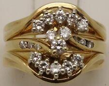 18CT YELLOW & WHITE GOLD DIAMOND ENGAGEMENT,WEDDING&ETERNITY RING SET-VAL $4400