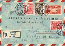 YUGOSLAVIA Cover Croatia Zagreb Registered Air Mail CANADA Toronto 1953 LS174