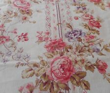 Best Antique French Shabby Roses & Violets Garland Cotton Fabric ~ Pink Lavender