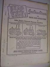 REPRINT -  JOHN DEERE OPERATORS & MAINT  MANUAL -GENERAL PURPOSE TRACTORS
