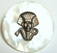 "New listing Rare 1950'S French 1 1/2"" Satin Lucite Button w/Egyptian Pharaoh Escutcheon"