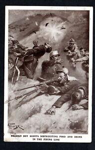 WW1 BELGIAN BOY SCOUTS DISTRIBUTING FOOD & DDRINK IN THE FIRING LINE