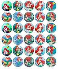 30x Little Mermaid Princess Ariel Cupcake Toppers Edible Wafer Fairy Cake Topper