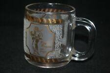 Vintage Rare Roy Rogers and Horse Trigger Glass Mug Cup 22KT Gold Etched