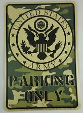 Army Camouflage Parking Sign Embossed United States Military L982