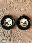 Vintage Pair Round Wood Framed Silhouette Pictures