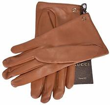 New Gucci Women's Brown Nappa Leather Interlocking GG Gloves Size 7.5 Medium