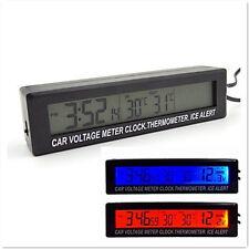 4en1 LCD coche In/out Termómetro Reloj Calendario retroiluminación Blue/orange retroiluminación
