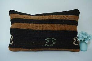 12x20 inc.Antique Turkish Kilim Pillow Cover Brown, Throw Hand Made Decor Pillow