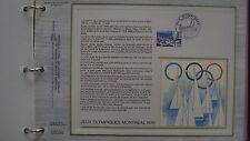 Document Philatélique - Jeux Olympiques Montréal 1976 - 17 juillet 1976