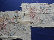 Vintage Marionette Puppet Embroidered Panels for Pillow or Wall Hanging
