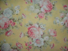 Gorgeous Victorian Pink Roses on Yellow Cotton Fabric Sold by the half yard BTHY