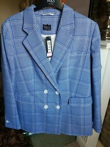 Women's M&S Blue Checked Double Breasted Blazer UK 16 £65