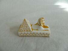 "1 Egyptian Resin Sphinx Hieroglyphic Pyramid 2.5"" Tan Brown Statue Small #25121"