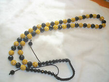 Gold Colour Shamballa Necklace with Black Crystal  Beads - New