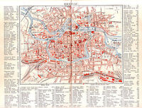 1890   POLAND WROCLAW Breslau CITY PLAN Antique Map