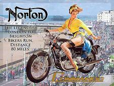 britannique MOTO COMMANDO PIN UP GIRL Brighton moyen métal / BOITE ENSEIGNE