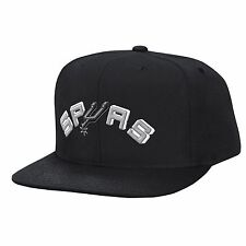 San Antonio Spurs NBA Mitchell & Ness Solid Logo Snapback Hat Cap Black