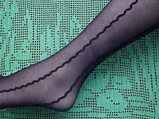 TRUE Retro 80's 15 Denier Sheer Wavy Lines Pattern Tights  - BLACK One Size