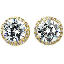 14k Yellow Gold Round-cut Cubic Zirconia Halo Stud Earrings