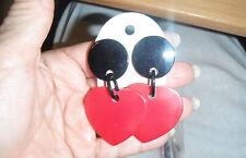 marion godart paris design clip earrings red valentine hearts love large