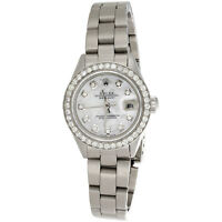 Ladies Rolex DateJust Diamond Watch Oyster Perpetual Steel 6917 MOP Dial 1 CT.