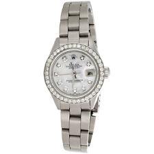 Дамы Rolex Datejust алмазные часы Oyster вечный сталь 6917 перламутровым циферблатом 1 кар