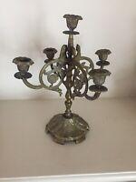 Ornate Brass 5 Tier Antique Candlestick Holder