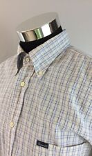 Faconnable Men's XLL Shirt Long Sleeve Blue White Plaid (A52)