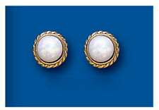 9k Gold Opal Round Stud Earrings - British Made - Hallmarked