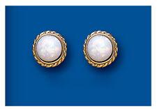 9k Oro Opale Orecchini Rotondi A Perno Fabbricato In Gran Bretagna