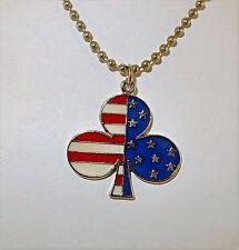 """Irish American Enameled Pewter Shamrock Pendant 18"""" Necklace"""