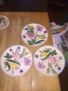 """3 Blue Ridge Southern Potteries Hand Painted Dinner Plates Flowers 9 1/4"""""""
