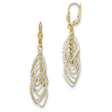 14k Two-tone Gold Polished and D/C Dangle Leverback Earrings TH888
