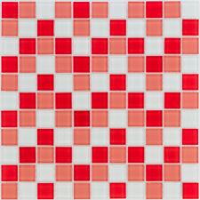 Glasmosaik Fliesen rot weiß Wand Dusche WC Küche Sauna Fliesenspiegel | ES-53216