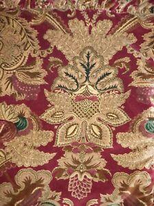 Ralph Lauren Red Velvet Paisley Jardiniere Standard Pair of Shams w/ Ruffle