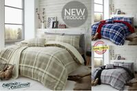 LINCOLN Teddy Bear Fleece Check Duvet Quilt Cover Set Warm Winter Throw Bedding
