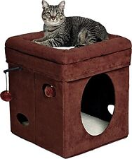 """MidWest """"The Original"""" Curious Cat Cube, Cat House / Cat Condo in Brown Faux &"""