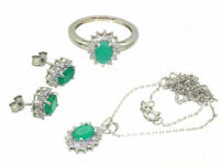 4.56ct Emerald & Diamond Necklace, Earrings, Ring Set in 18K & 14K White Gold