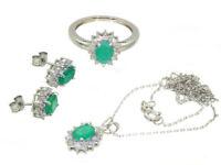 4.56ct Smaragd & Diamant-Halskette,Ohrringe,Ring Im Set 18k & 14k Weiss Gold