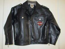 Harley Davidson size 6 black faux leather biker jacket Embroidered logos  NWOT