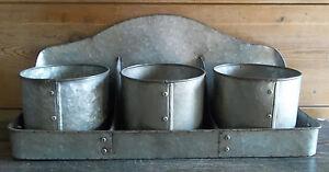 Farmhouse WALL SHELF ORGANIZER Galvanized BIN Bucket Vintage Storage Bucket Pots