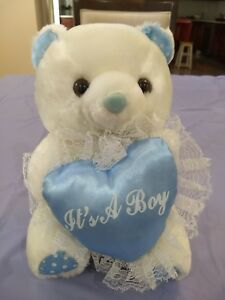 "IT'S A BOY Baby TEDDY BEAR Pink Plush Stuffed Soft Toy 9""H x 7""W x 5.6""D"