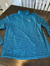 Under Armour Threadborne Fitted Heat Gear L/S Crewneck Pullover Teal Shirt 2Xl