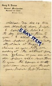1903 letterhead GARY & BURNS Midland Texas GENERAL MERCHANDISE Robert Henson
