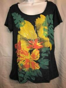 LUCKY BRAND womens sz XL - Heathered Blue S/S Knit TEE w/ FLORAL GRAPHIC