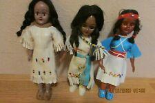 3 Small Native American Dressed Dolls - Hard Plastic - Vintage